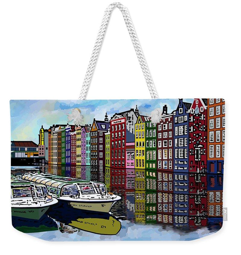 Amsterdam Weekender Tote Bag featuring the digital art Amsterdam Holland by James Mingo