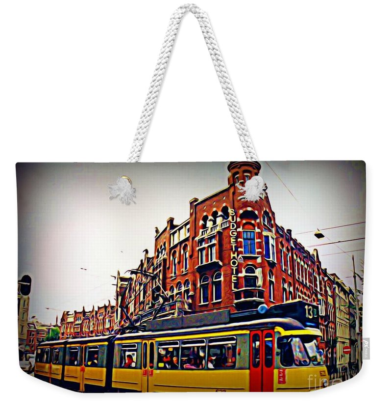 Amsterdam Street Cars Weekender Tote Bag featuring the painting Amsterdam Transportation by John Malone