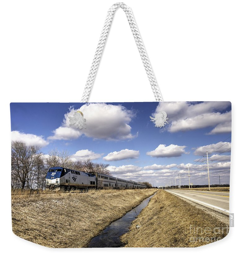 Train Weekender Tote Bag featuring the photograph Amtrak 66 by Rob Hawkins