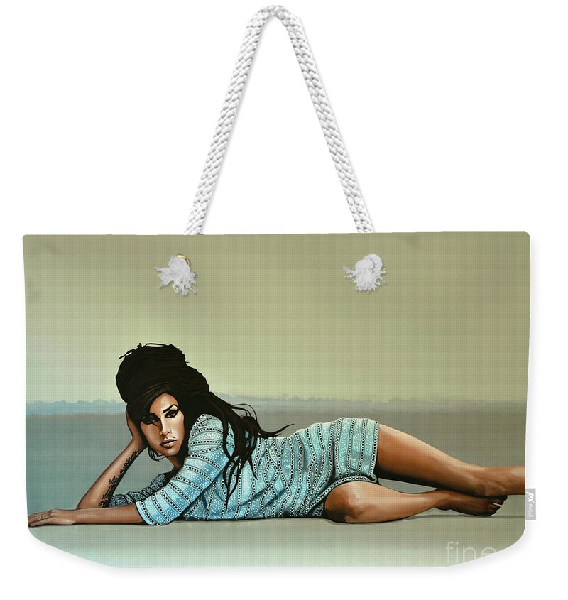 Amy Winehouse Weekender Tote Bag featuring the painting Amy Winehouse 2 by Paul Meijering