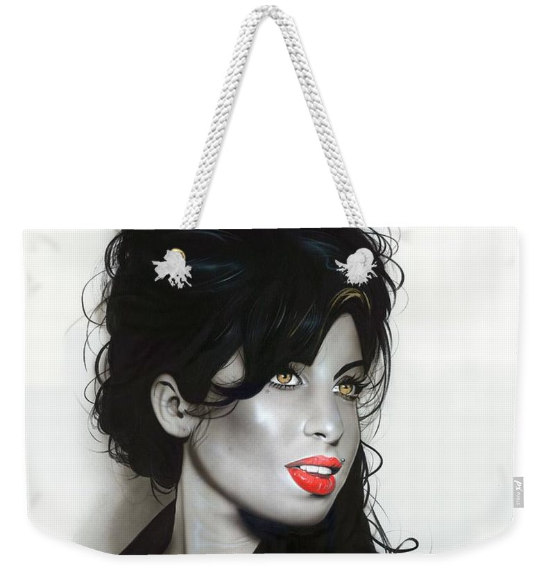 Amy Winehouse Weekender Tote Bag featuring the painting Amy Winehouse by Christian Chapman Art