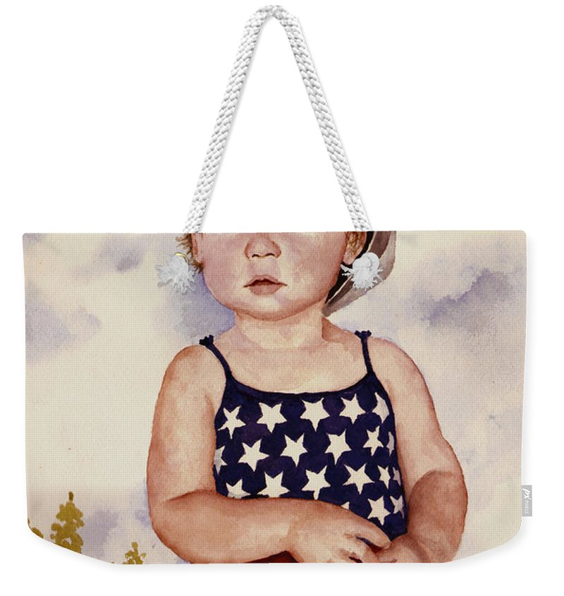 Kid Weekender Tote Bag featuring the painting An All American Girl Named Ireland by Sam Sidders