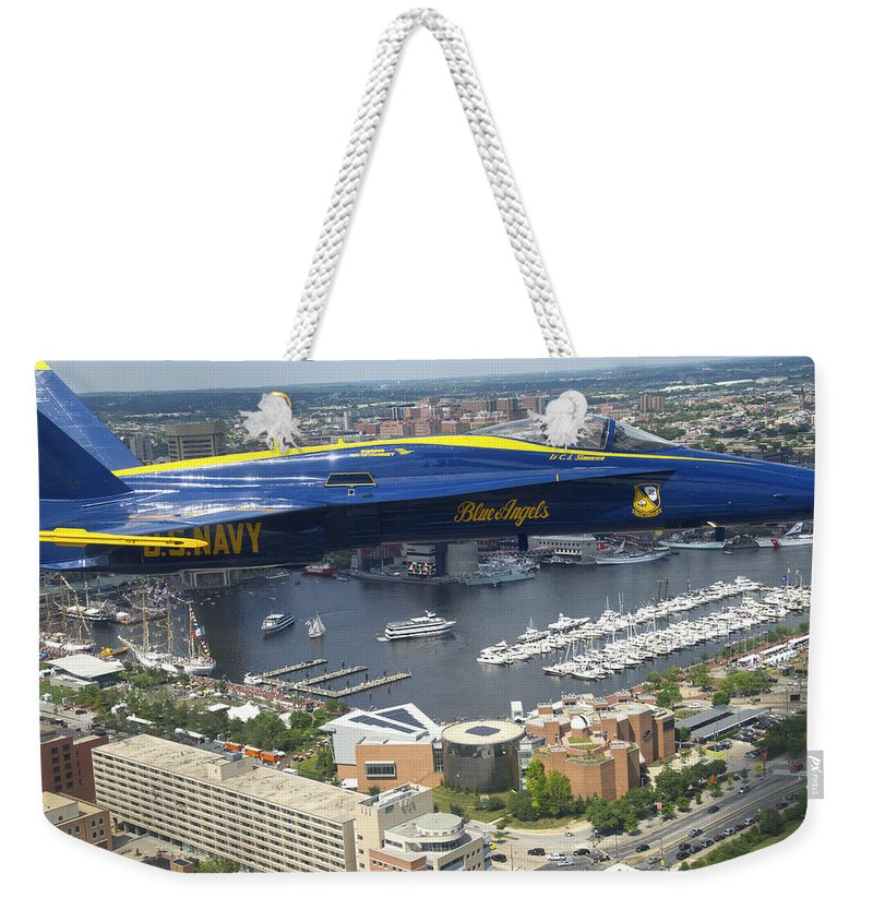 Navy Weekender Tote Bag featuring the photograph An Angel Over Baltimore by Mountain Dreams
