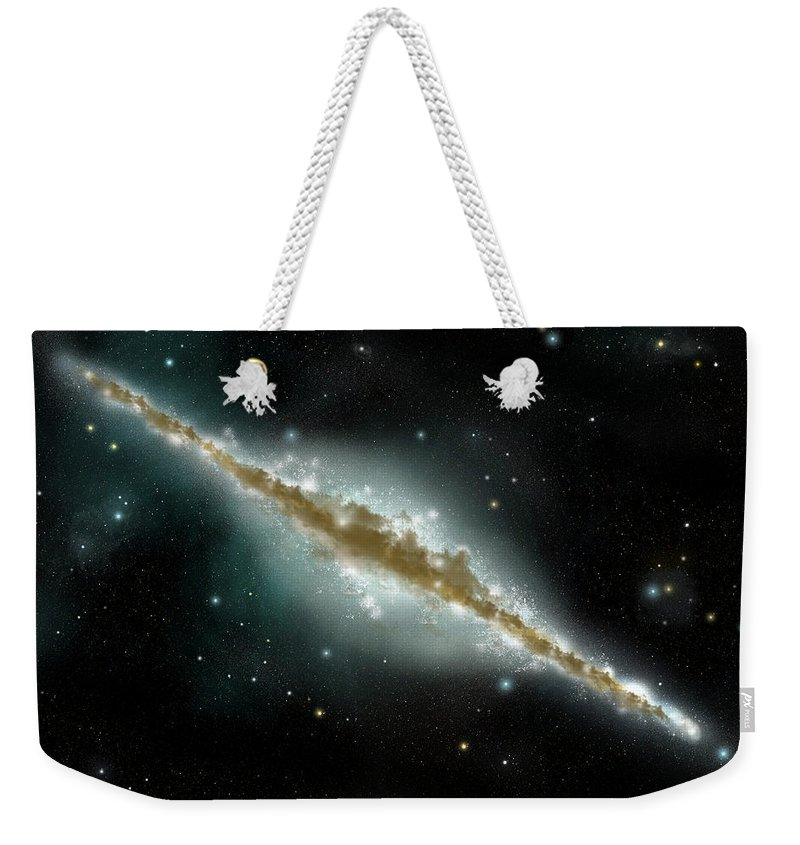 Dust Weekender Tote Bag featuring the digital art An Artists Depiction Of A Large Spiral by Marc Ward/stocktrek Images