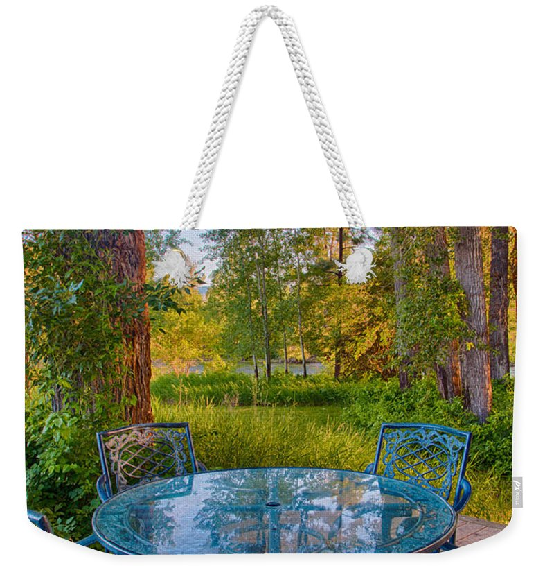 2014 Weekender Tote Bag featuring the digital art An Early Morning On The Deck At Cottonwood Cottage by Omaste Witkowski
