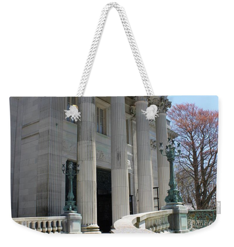 Newport Mansion Weekender Tote Bag featuring the photograph An Elegant Newport Mansion by Jennifer E Doll
