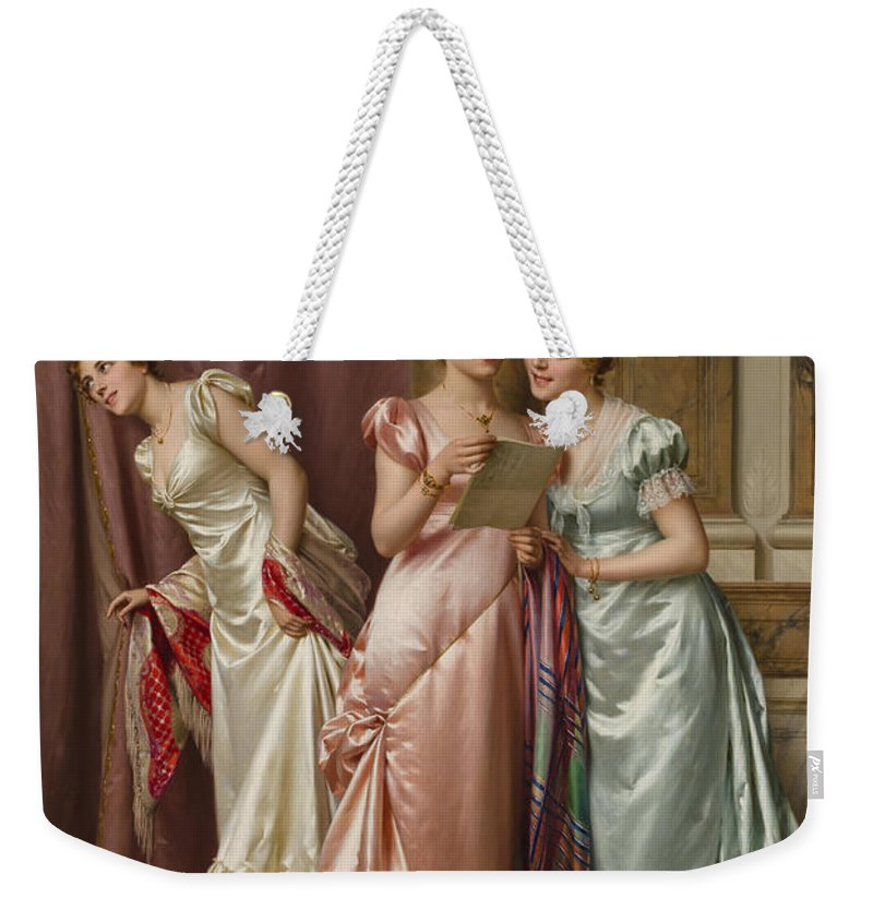 Letter Weekender Tote Bag featuring the painting An Illicit Letter by Vittorio Reggianini