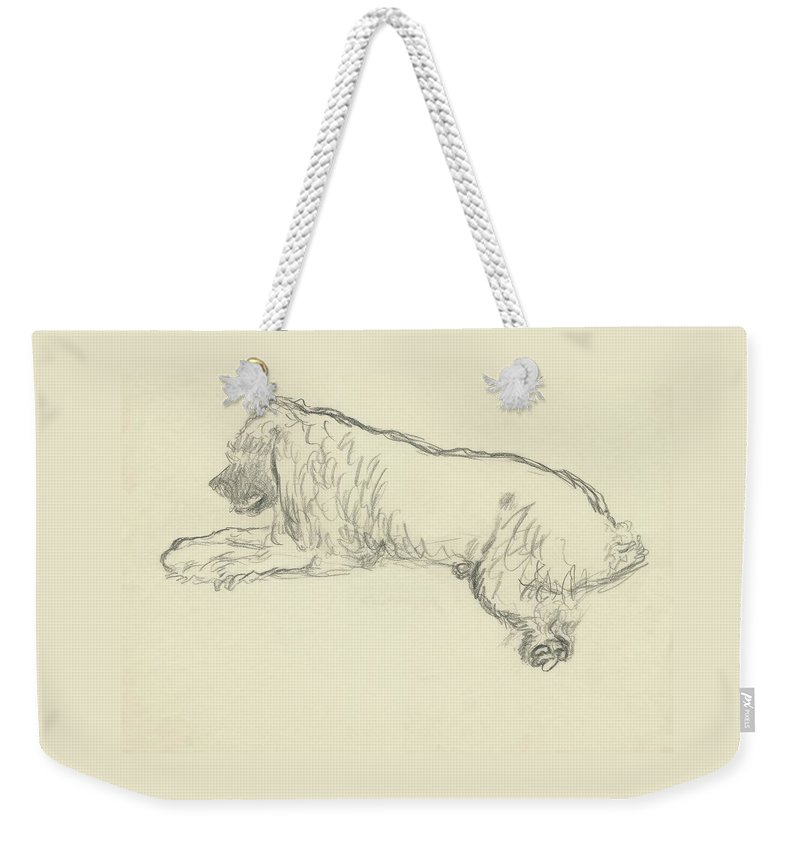 Illustration Weekender Tote Bag featuring the digital art An Illustration Of A Dog by Carl Oscar August Erickson