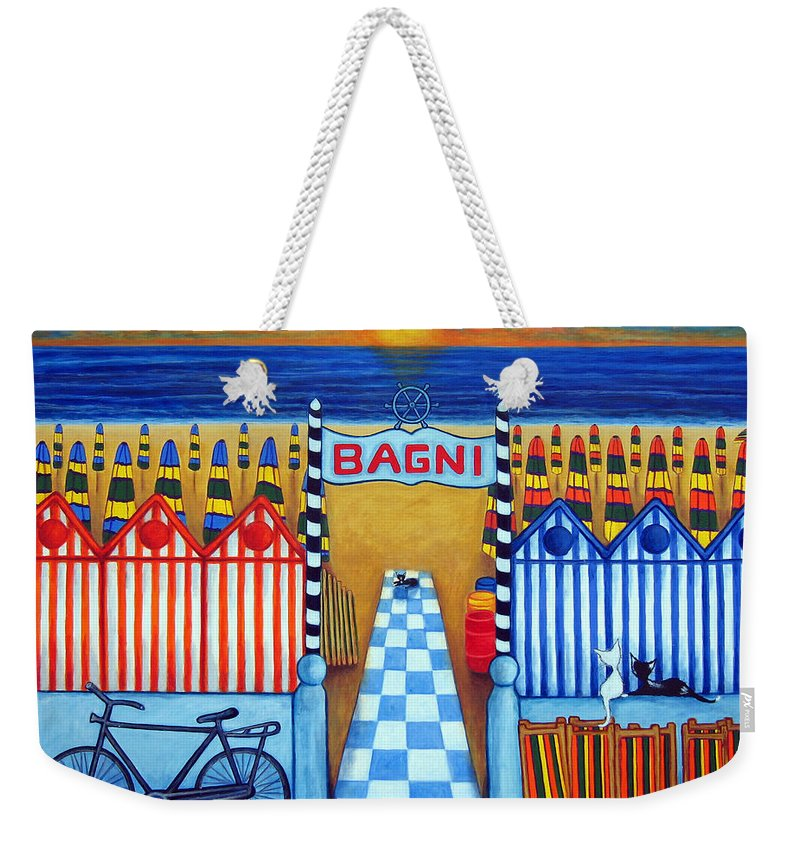 Italy Weekender Tote Bag featuring the painting An Italian Summer's End by Lisa Lorenz