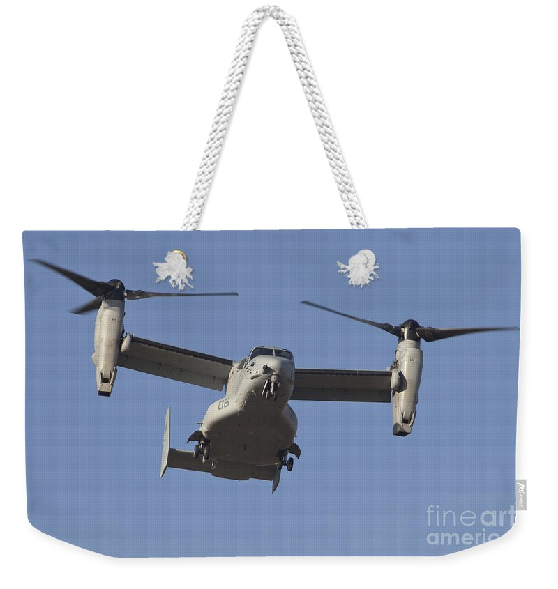 Horizontal Weekender Tote Bag featuring the photograph An Mv-22b Osprey Prepares For Landing by Timm Ziegenthaler