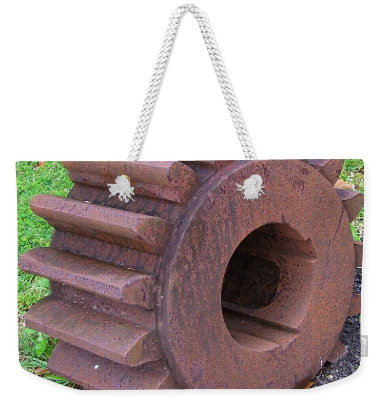 Mary Deal Weekender Tote Bag featuring the photograph An Old Cog No 1 by Mary Deal