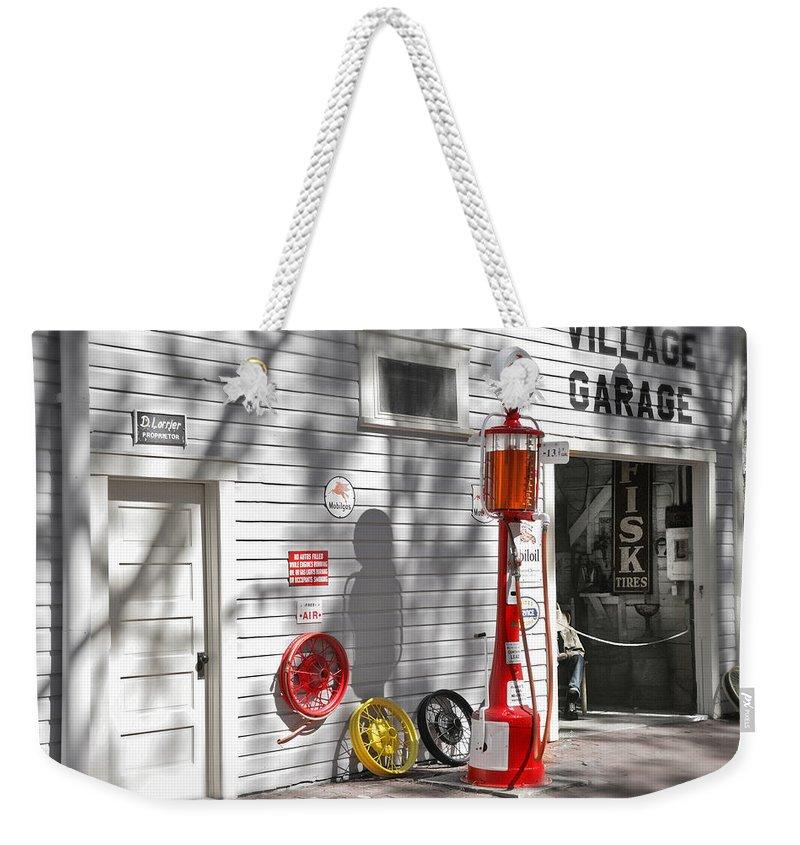 Garage Weekender Tote Bag featuring the photograph An Old Village Gas Station by Mal Bray