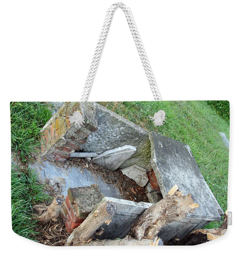Open Weekender Tote Bag featuring the photograph An Open Grave's Rubble by Cora Wandel