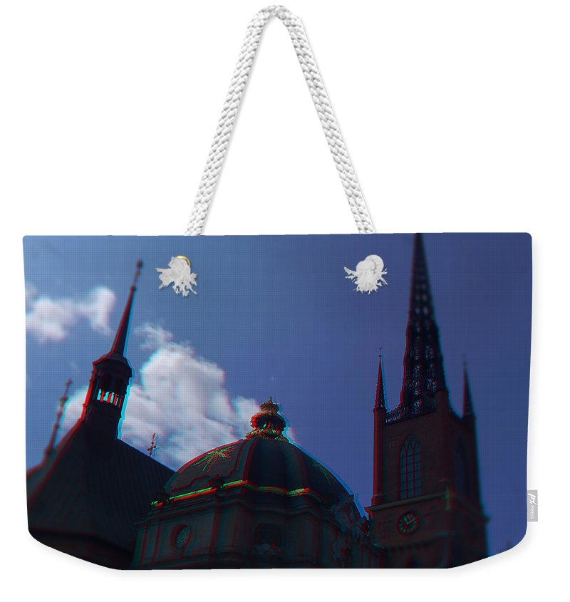 Anaglyph Weekender Tote Bag featuring the photograph Anaglyph Church by Ramon Martinez