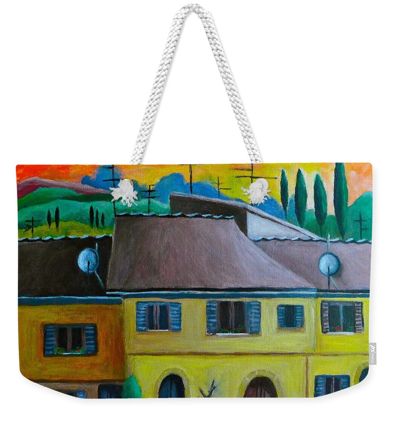 Volterra Weekender Tote Bag featuring the painting Ancient Volterra Wired by Victoria Lakes