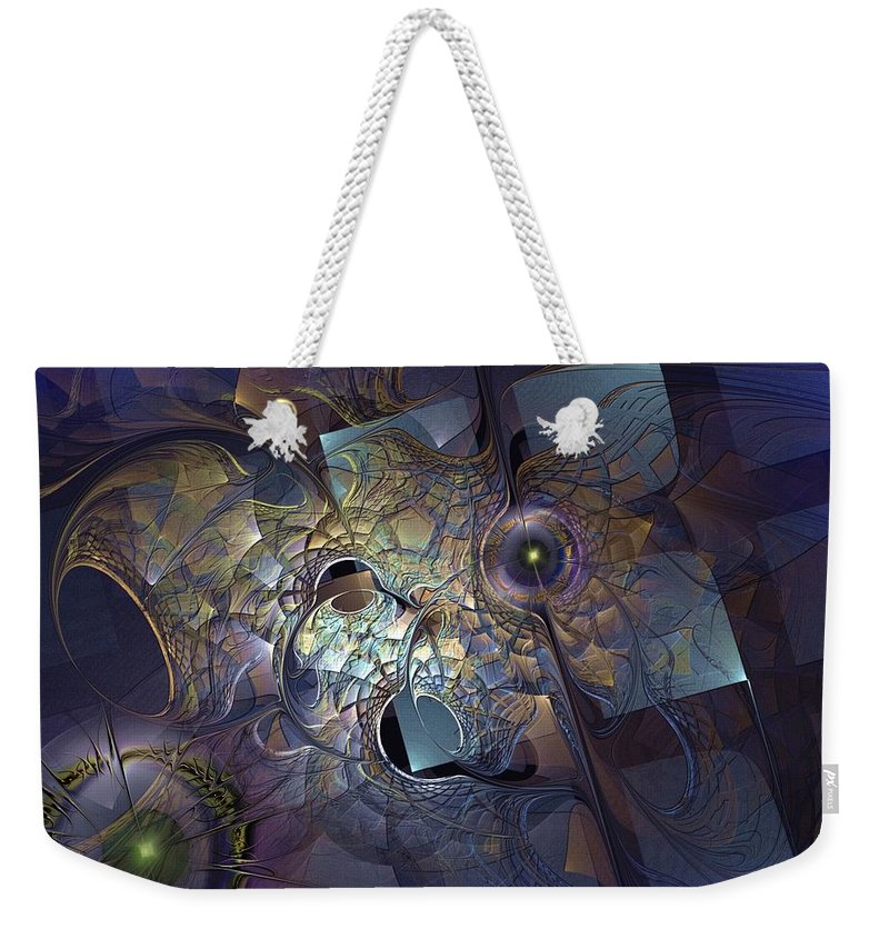 Abstract Weekender Tote Bag featuring the digital art Ancestral Monolith by Casey Kotas