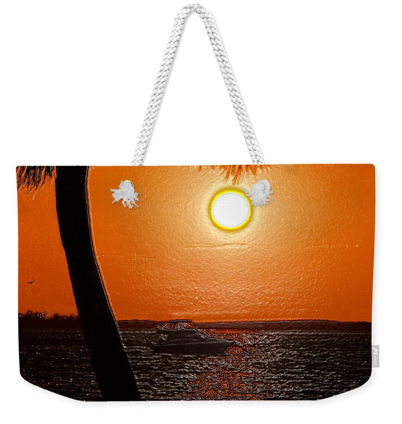 Art Weekender Tote Bag featuring the painting Anchored In Paradise by David Lee Thompson