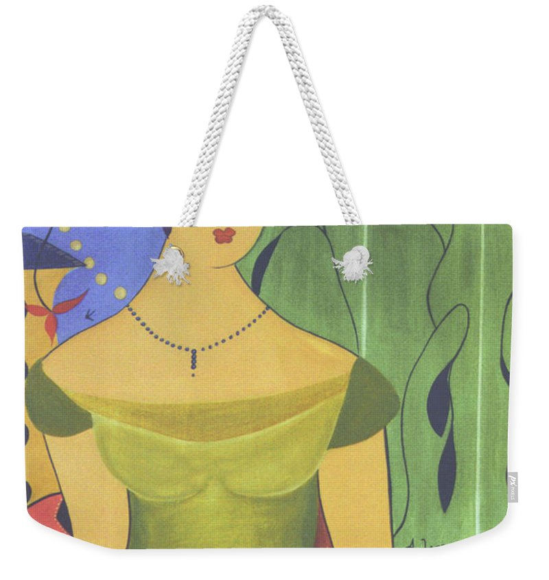#female Weekender Tote Bag featuring the painting Ancient Beauty by Jacquelinemari