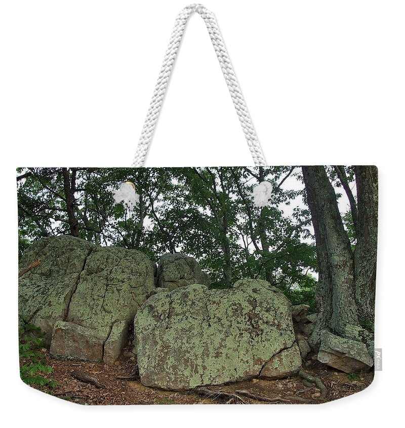 Ancient Weekender Tote Bag featuring the photograph Ancient Boulders by Susan Wyman