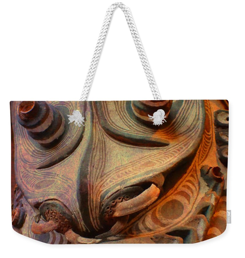 Indian Weekender Tote Bag featuring the photograph Ancient Indian Artifact by Deena Stoddard