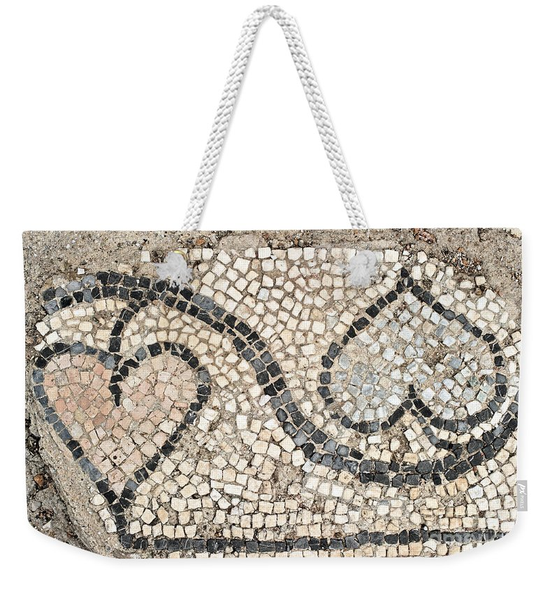 Mosaic Weekender Tote Bag featuring the photograph Ancient Mosaic by Grigorios Moraitis
