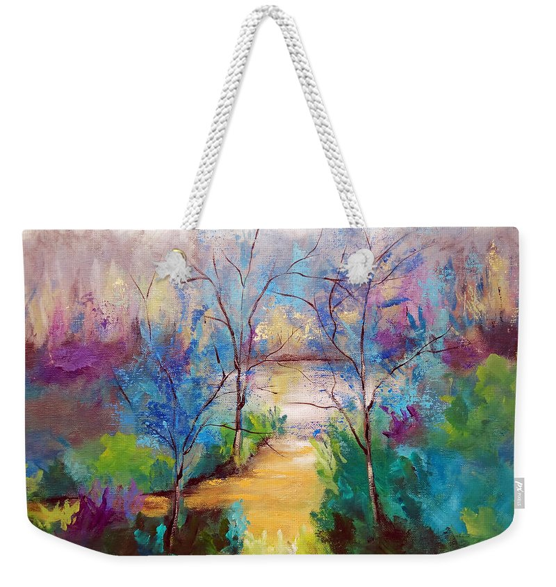 Landscape Weekender Tote Bag featuring the painting And God Saw That It Was Good by Ruth Palmer