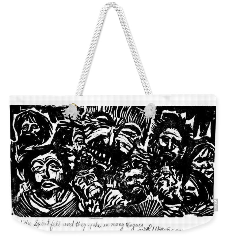 And The Spirit Fell Weekender Tote Bag featuring the relief And The Spirit Fell by Seth Weaver