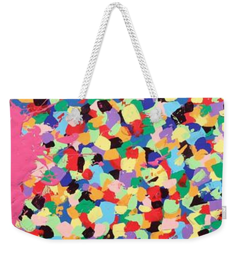 Splat Weekender Tote Bag featuring the painting And Then She Kissed Me by David Mayeau