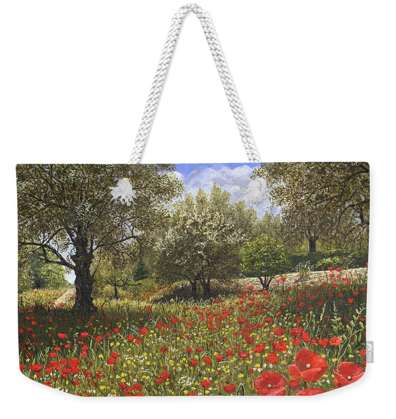Landscape Weekender Tote Bag featuring the painting Andalucian Poppies by Richard Harpum