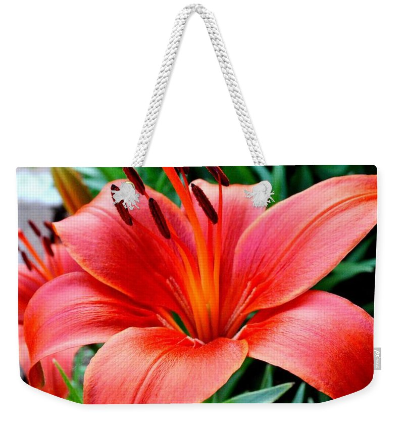 Tiger Lily Weekender Tote Bag featuring the photograph Andrea's Lily by Susie Loechler
