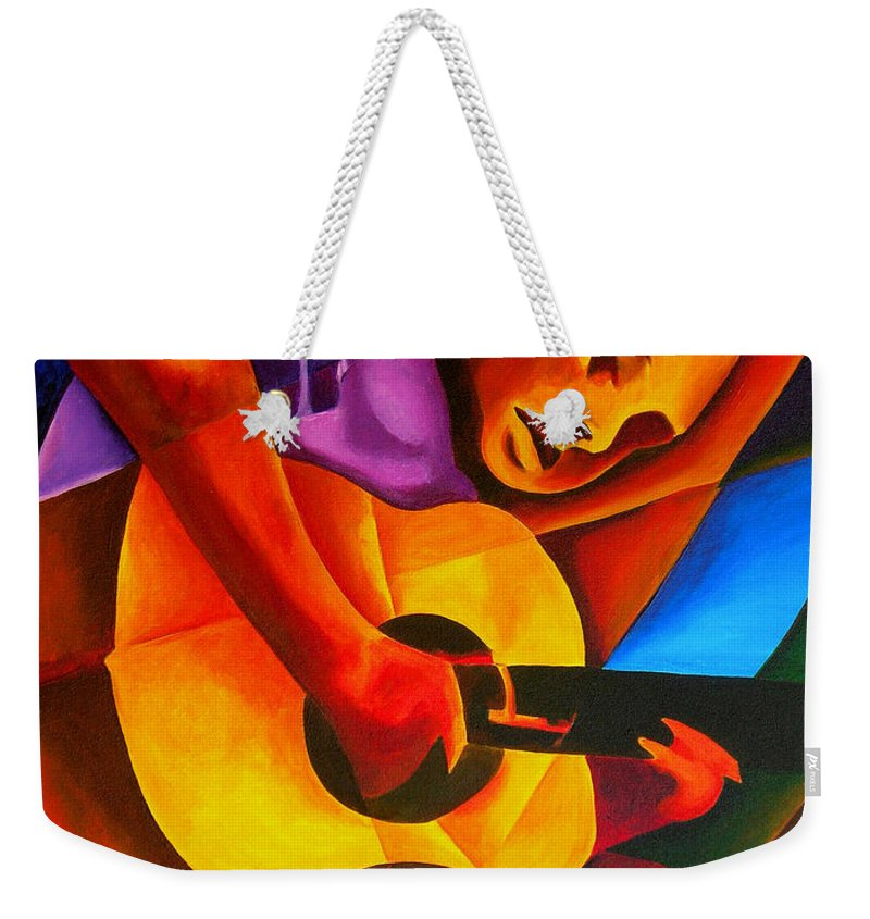 Male Weekender Tote Bag featuring the painting Andres by Patricia Brintle