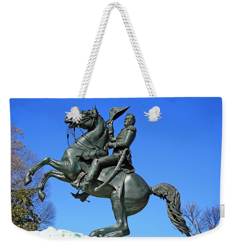 Andrew Weekender Tote Bag featuring the photograph Andrew Jackson Raising His Hat by Cora Wandel
