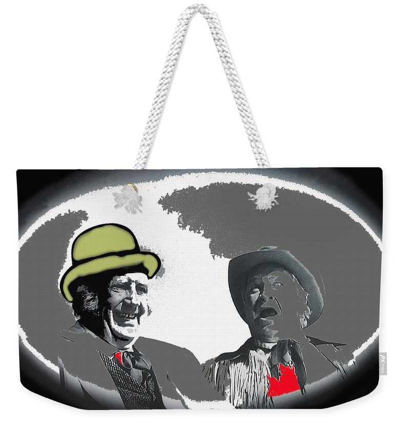Andy Devine Chill Wills Old Tucson Arizona John Wayne John Ford Stagecoach Vignetted Color Added Weekender Tote Bag featuring the photograph Andy Devine Chill Wills Old Tucson Arizona 1971-2008 by David Lee Guss