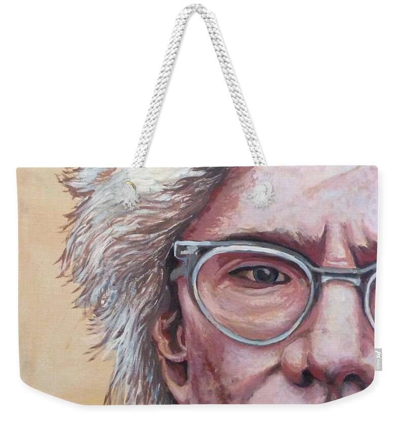 Andy Warhol Weekender Tote Bag featuring the painting Andy Warhol by Tom Roderick