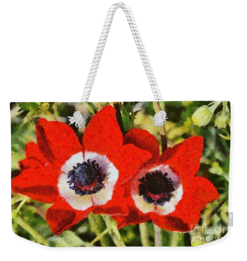Crown Anemone; Poppy Anemone; Anemone Coronaria; Red; Anemones; Flower; Flowers; Wild; Plant; Spring; Springtime; Season; Nature; Natural; Natural Environment; Natural World; Flora; Bloom; Blooming; Blossom; Blossoming; Color; Colour; Colorful; Colourful; Earth; Environment; Ecological; Ecology; Country; Landscape; Countryside; Scenery; Macro; Close-up; Close Up; Detail; Details; Aesthetics; Esthetics; Artistic; Beautiful; Beauty; Outdoor; Outside; Horizontal; Paint; Painting; Paintings Weekender Tote Bag featuring the painting Anemones by George Atsametakis