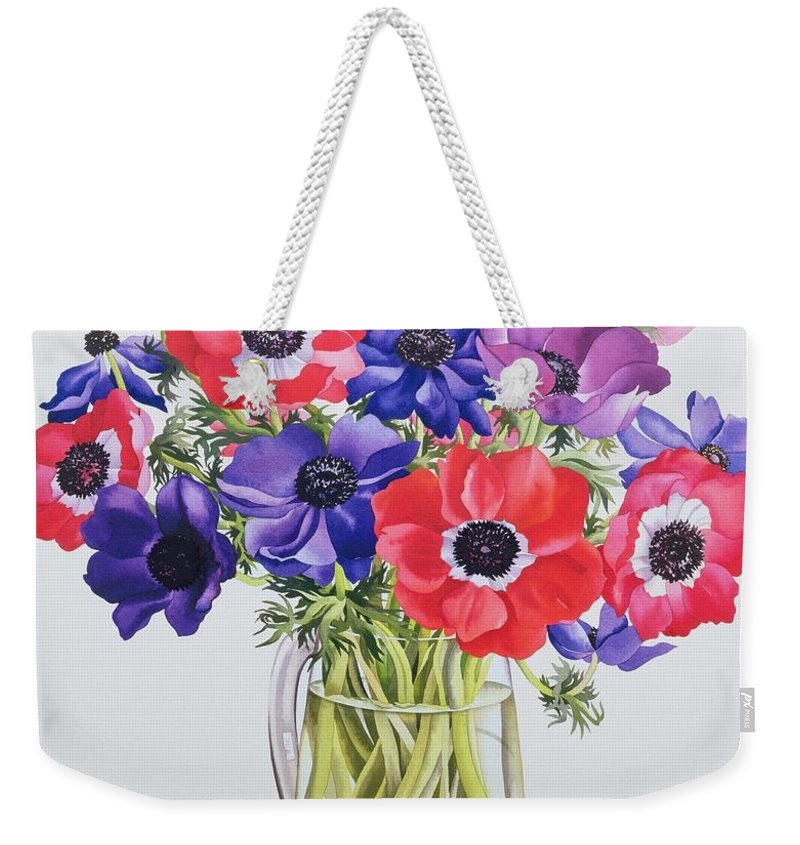 Flower Weekender Tote Bag featuring the painting Anemones In A Glass Jug by Christopher Ryland