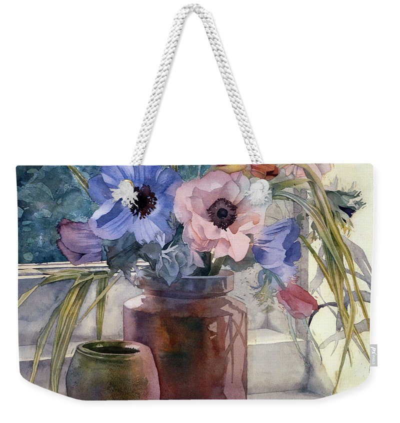 Julia Rowntree Weekender Tote Bag featuring the photograph Anemones by Julia Rowntree