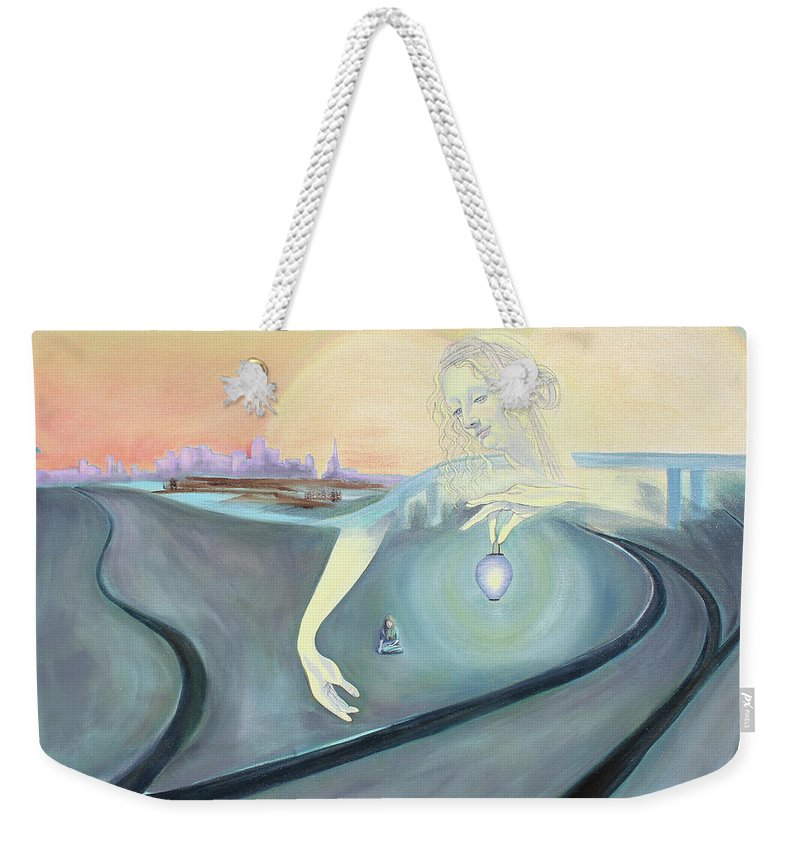 Angel Painting Weekender Tote Bag featuring the painting Angel Bringing Light To Meditating Woman At The Train Tracks by Asha Carolyn Young