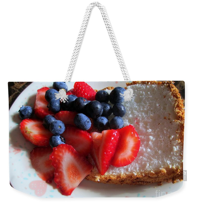 Angle Food Weekender Tote Bag featuring the photograph Angel Food And The Berries by Kay Novy