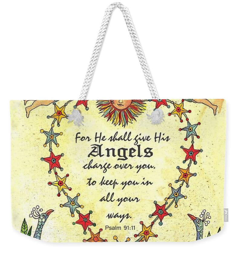 Fraktur Weekender Tote Bag featuring the painting Angel Fraktur Painting by Joan Shaver
