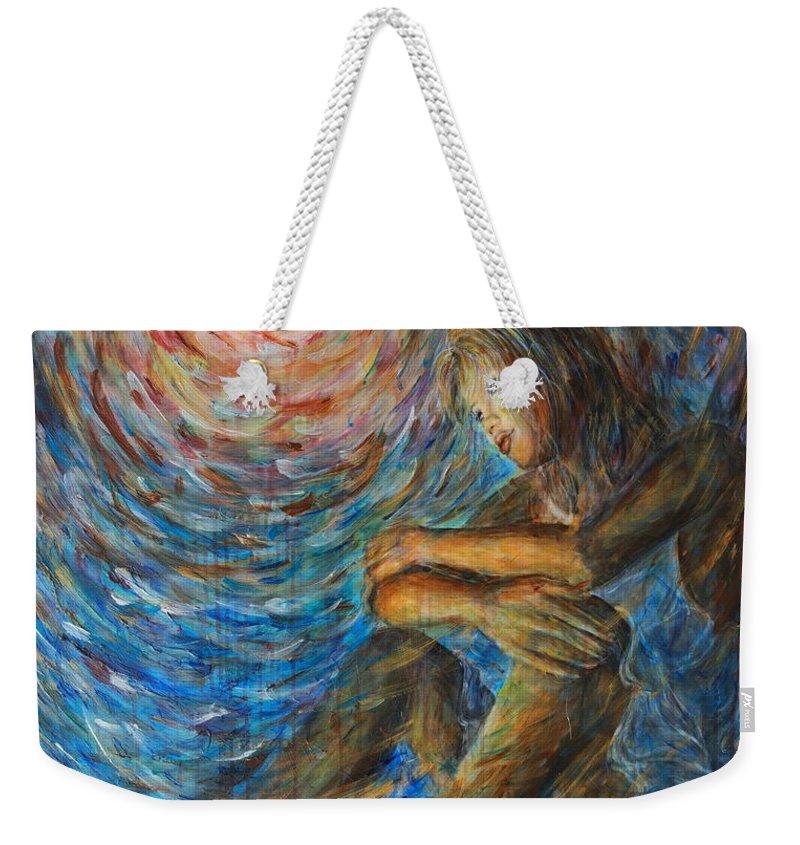 Angel Weekender Tote Bag featuring the painting Angel Moon I by Nik Helbig