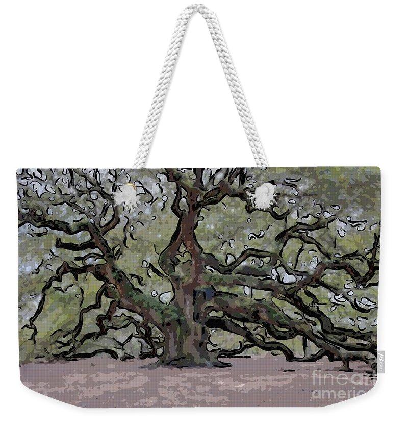 Angel Oak Tree Weekender Tote Bag featuring the digital art Angel Oak Digital Art by Dale Powell
