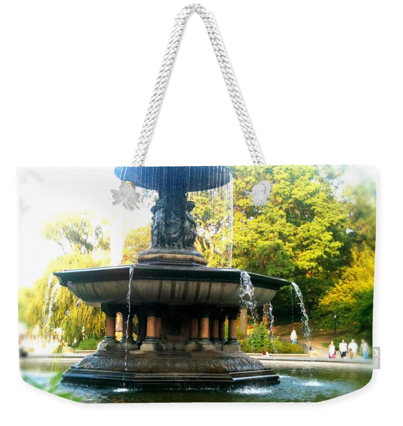 Bethesda Weekender Tote Bag featuring the photograph Angel Of The Waters by Jon Woodhams