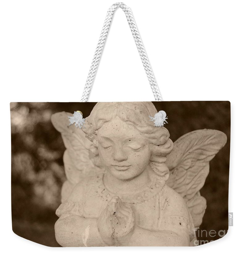 Sepia Weekender Tote Bag featuring the painting Angel Sepia by Samantha Black