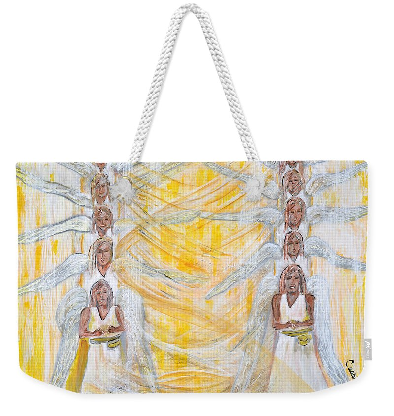 Art By Cassie Sears Weekender Tote Bag featuring the painting Angel Winds Flames Of Fire by Cassie Sears