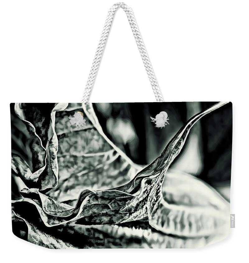 Angel Wing Weekender Tote Bag featuring the photograph Angel Wing Variation Black White by Gary Holmes