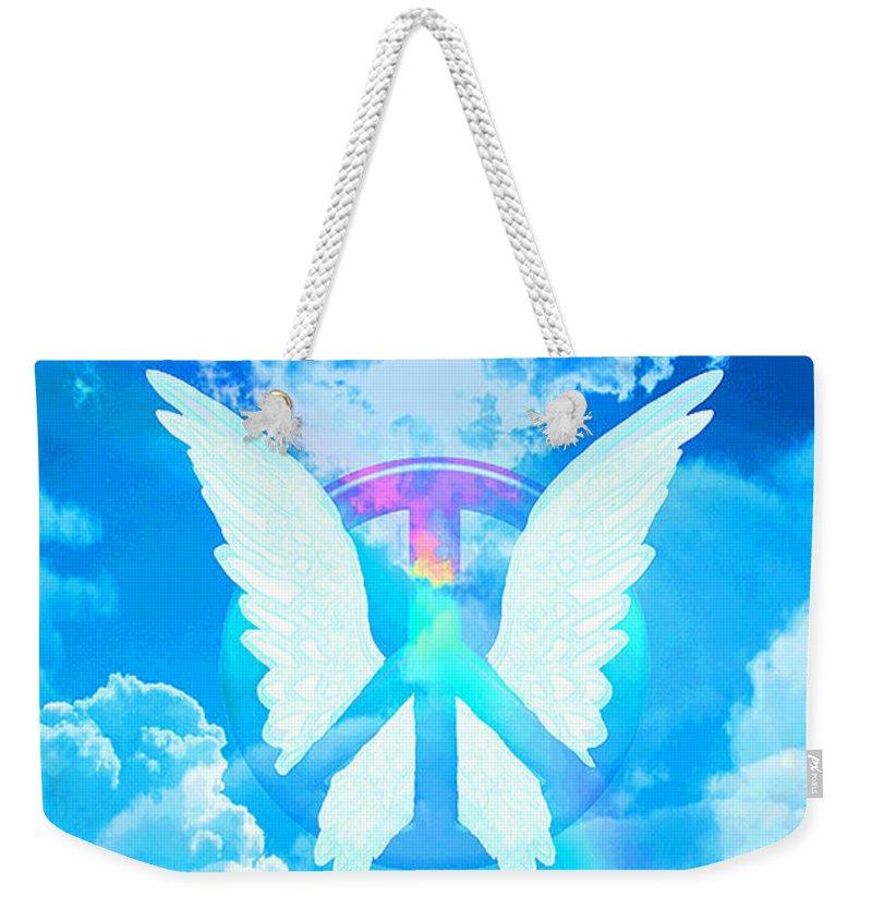 Peace Weekender Tote Bag featuring the digital art Angel Wings by Amelia Carrie