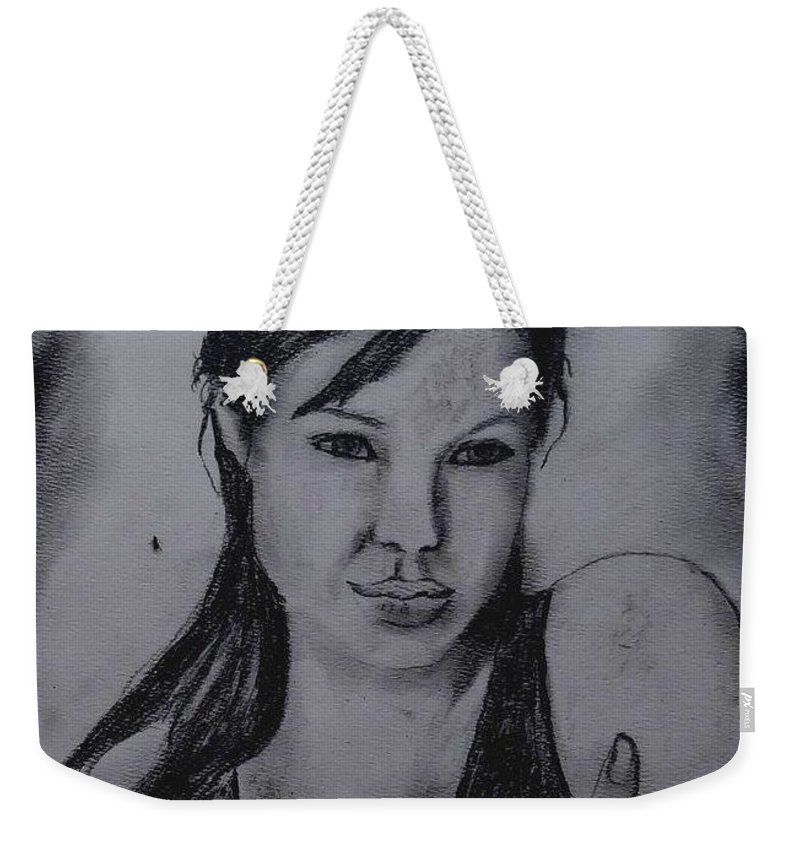Portrait Weekender Tote Bag featuring the painting Angelina by Fineartist Ellen