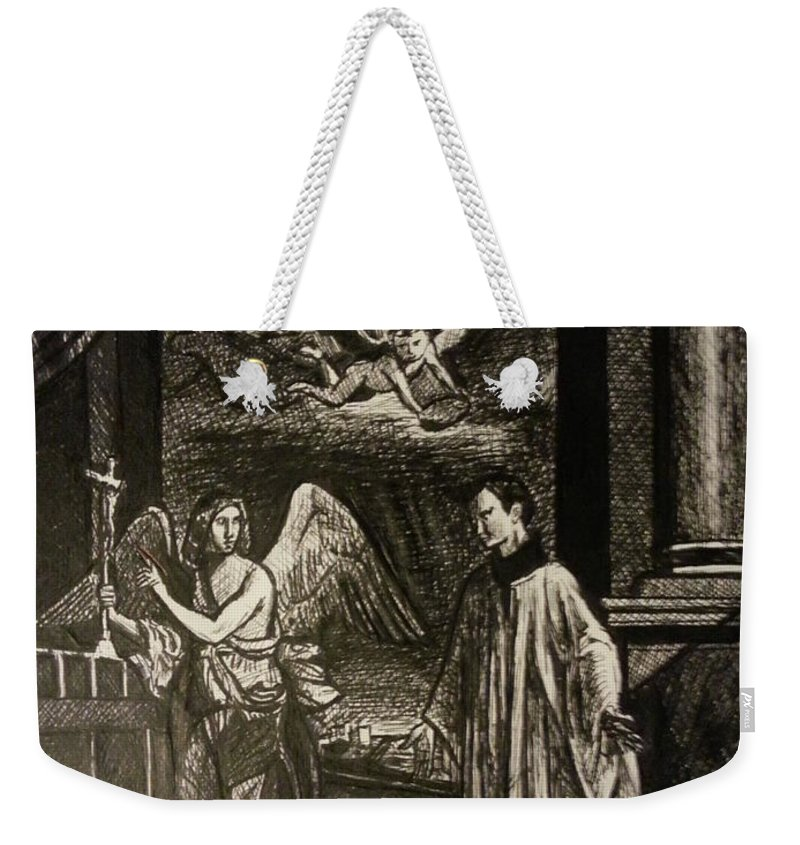 Weekender Tote Bag featuring the painting Angels And Saints by Jude Darrien