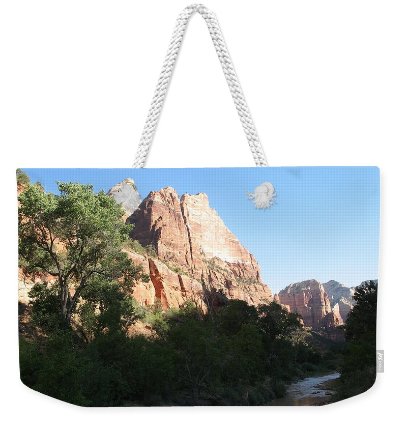 Mountians Weekender Tote Bag featuring the photograph Angels Landing And Virgin River - Zion Np by Christiane Schulze Art And Photography